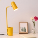 Rotatable Elongated Dome Table Light with Storage Cup Macaron Colorful Bedroom Metal 1 Bulb Reading Light