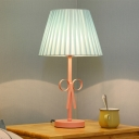 Pink Finish Coolie Table Lamp with Gathered Fabric Lampshade 1 Light Table Light for Girls Bedroom