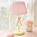 Trellis Design 1 Head Table Lamp with Pink Fabric Shade Reading Light for Children Bedroom