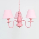 Vintage Tapered Hanging Light Fixture with Blue/Pink Fabric Shade Triple Lights Suspension Light