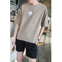 Cute Cartoon Whale Printed Summer Loose Casual T-Shirt for Guys