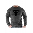 New Stylish Cool Superman Logo Printed Men's Long Sleeve Running Cotton Muscle Fitted T-Shirt