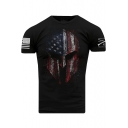 Men's Stylish America Skull Flag Printed Black Short Sleeve T-Shirt