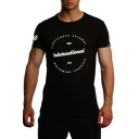 Men's Fashion Letter INTERNATONAL Print Vented Cotton Athletic Muscle T-Shirt