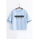 Cartoon Cat Claw Japanese Character Printed Round Neck Loose T-Shirt for Girls