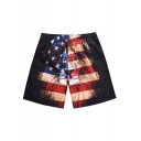 Unique Flag Lion Pattern Drawstring Waist Men's Beach Black Swim Trunks with Lining
