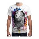 Unique 3D Lion Unicorn Printed Regular-Fit Unisex White T-Shirt