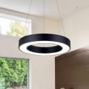 Acrylic Hollow Drum Shaped Chandelier Simple Black Finish 16