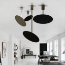 Modern Style Matte Black Pendant Metal Disc Shade Hanging Light for Bar Restaurant