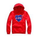 Letter Heart Printed Long Sleeve Unisex Fitted Cozy Hoodie