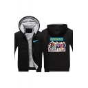 Cartoon Character Letter RIVERDALE Printed Back Long Sleeve Zip Front Thick Warm Hoodie