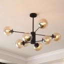 Cognac Glass Ball Shade Chandelier Modern Chic 8 Light Pendant Light for Living Room