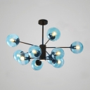 Faded Blue Glass Bubble Chandelier Modern Chic Multi Light Suspended Ceiling Lamp