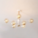8 Light Branch Chandelier Light Modern Designers Style Glass Hanging Light in White