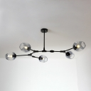 Branch Hanging Light Simple Modern Smoke Glass 5 Light Decorative Ceiling Light in Black