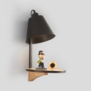 Small Cone Wall Sconce Modern Chic Wall Light with Oak Base for Hallway Living Room
