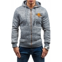 Stylish Button Embellished Chest Long Sleeve Heather Grey Full Zip Fitted Fleece Hoodie