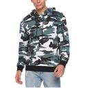 Fashion Zip-Embellished Long Sleeve Trendy Camouflage Printed Regular Fit Hoodie
