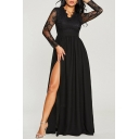 V Neck Sheer Long Sleeve Sexy Split Front Lace Patch Maxi A-Line Dress