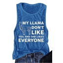 Letter Cartoon Camel Printed Round Neck Sleeveless Blue Tank