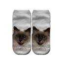 3D Cartoon Printed Ankle High White Socks