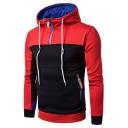 Men's Fashion Colorblock Multi-Way Zip Embellished Raglan Sleeve Fitted Drawstring Hoodie