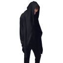 Men's Hip Hop Street Style Long Sleeve Open Front Basic Solid Black Hoodie