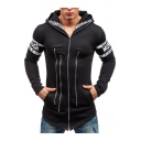 Fashion Multi-Way Zip Embellished Letter Print Long Sleeve Slim Fitted Longline Zip Up Hoodie for Men