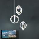 3 Light Multi Ring Drop Light Simplicity Metal Art Deco Suspension Light for Coffee Shop