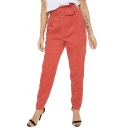 New Fashion High Rise Belted Waist Basic Plain Winter's Corduroy Tapered Pants