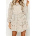 Beige Polka Dot Printed Bishop Long Sleeve Cut Out Back Layered Ruffle Hem Mini A-Line Dress