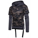 Unique Cool Camo Pattern Layered Patched Long Sleeve Zip-Embellished Side Ribbon Hem Fitted Cotton Hoodie