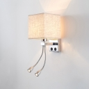 Modernism Square Shade Wall Sconce Beige/Coffee/Flaxen Fabric Shade Wall Lamp with 2 Spotlight