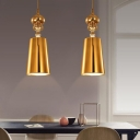 Brass Finish Cone Suspension Light Mid Century Modern Metal Single Light Ceiling Pendant Light