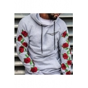 Men's Cool Logo Print Chest Floral Long Sleeve Loose Fitted Sports Hoodie