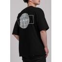 Basic Round Neck Half-Sleeved Letter MOON LIGHT Black Cotton Graphic T-Shirt for Men