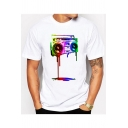 Funny 3D Colorful Melting Radio Printed Crewneck Short Sleeve White T-Shirt