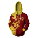 Men's Trendy 3D Comic Colorblock Long Sleeve Sports Zip Up Red Cosplay Hoodie