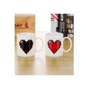 Romantic Heart Printed White Color Change Mug Cup Gift for Couple 301-400ml