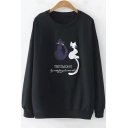 Lovely Cartoon Cat Letter TESTMONY Embroidered Crewneck Long Sleeve Pullover Sweatshirt