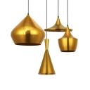 Brass Finish Geometric Hanging Light Designers Style Aluminum 1 Bulb Pendant Lamp for Restaurant