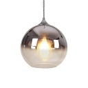 Silver Orb Shade Suspension Light Minimalist Faded Glass Single Head Lighting Fixture