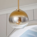 Faded Glass Orb Pendant Light Post Modern Single Light Suspended Light in Champagne Gold
