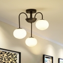 Opal Glass Oval Suspended Light Modernism 3 Light Chandelier Light in Black/White