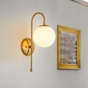 Curved Arm Wall Lamp Designers Style Milky Glass Single Light Accent Wall Sconce in Gold