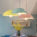 Geometric Shape Suspended Lamp Macaron Modern Steel 1 Bulb Hanging Light for Kids