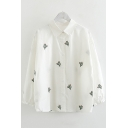 Girls Cute Cactus Printed Lapel Collar Long Sleeve Button Down White Shirt
