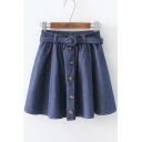 Elastic Waist Belted Waist Fashion Button Front Plain Mini A-Line Denim Skirt