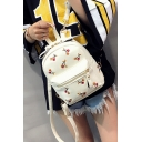 19*12*23cm Chic Cherry Printed Fashion Soft PU Casual Backpack for Girls