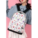 31*15*45cm Lovely Cartoon Graffiti Printed White School Bag Backpack